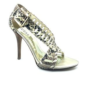 Size 8 gold Guess open toe heels with gold buckle